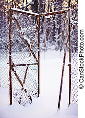 rotto, neve, recinto, sotto