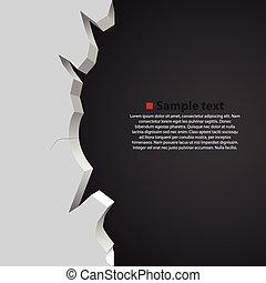 rotto, parete, scuro, fondo., vettore, bianco