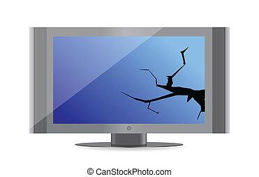 rotto, schermo, monitor computer