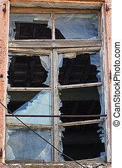 rotto, struttura finestra, vetro