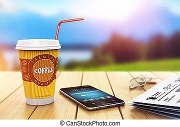 rottura, caffè, affari, fuori