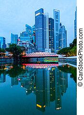 rottura, centro, orizzonte, alba, singapore