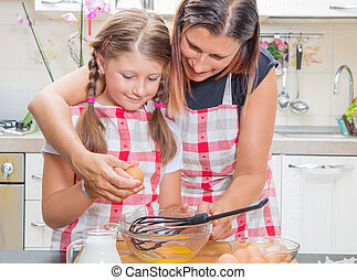 rottura, figlia, uova, cottura, insieme, mentre, madre, cucina