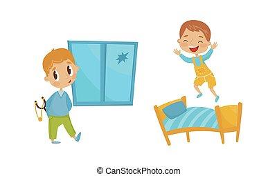 rottura, forcuto, finestra, vettore, bastone, illustrazione, birichino, set, ragazzo, saltare, letto