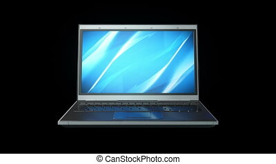 rottura, in, pezzi, computer portatile