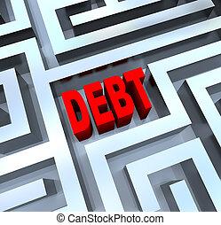 rottura, labirinto, debito, fuori