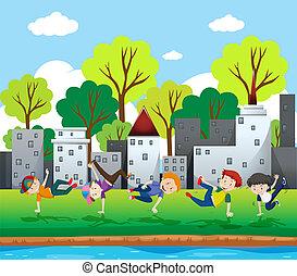 rottura, ragazzi, parco, ballo
