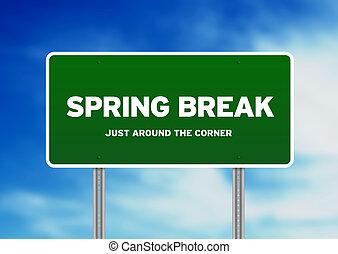 rottura, segno, autostrada, primavera