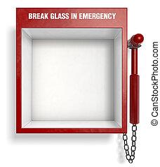 rottura, vetro, in, emergenza