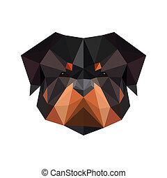 rottweiler, cane, astratto, isolato, illustrazione, polygonal, w