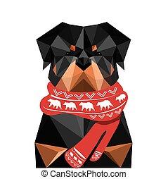 rottweiler, cane, illustrazione, origami, natale, sciarpa