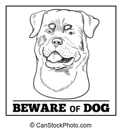 Rottweiler dog and beware sign isolated on white background.