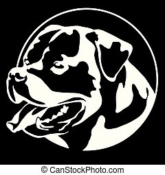 Rottweiler Dog Portrait Dog Symbol Icon white on black