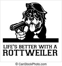 Rottweiler dog with a gun - Rottweiler gangster. Head of ...