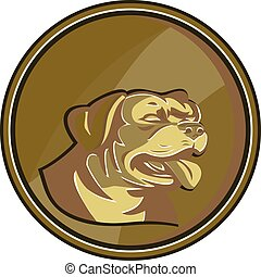 Rottweiler Guard Dog Head Gold Medallion Retro