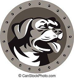 Rottweiler Guard Dog Head Metallic Circle Retro