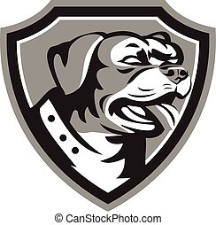 Rottweiler Guard Dog Shield Black and White - Black and...