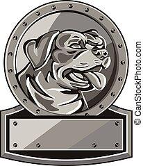 Rottweiler Guard Dog Shield Metallic Circle Retro