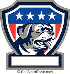 Rottweiler Guard Dog USA Flag Crest Retro