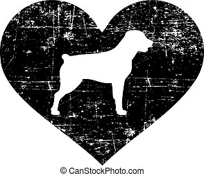 Rottweiler in heart black and white