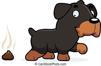 rottweiler, poop, cartone animato