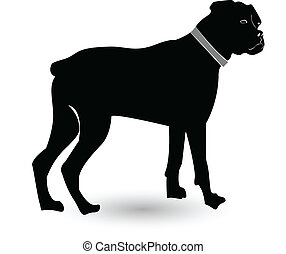rottweiler, silhouette, hund, logo