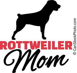 rottweiler, silueta, perro, mamá