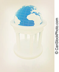 Rotunda and erth. Global cultural concept in architecture . 3D illustration. Vintage style.