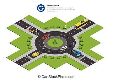 rotunda, carros, sinal indireto, e, rotunda, road.,...
