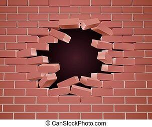 rotura, agujero, pared, ladrillo