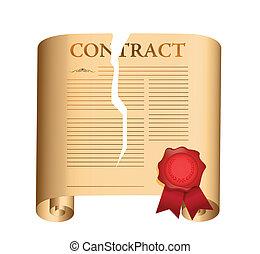 rotura, diseño, contract., ilustración