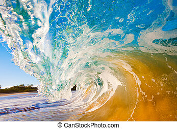 rotura, onda océano, chocar, encima, cámara