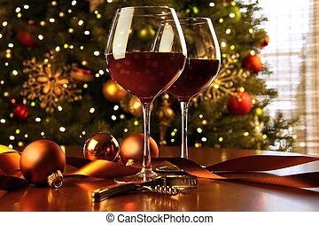 rotwein, auf, tisch, weihnachtsbaum