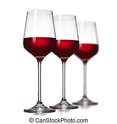 rotwein, in, brille, freigestellt, weiß
