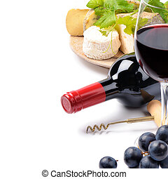 rotwein, mit, franzoesisch, käseauswahl