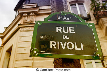 Rou de Rivoli street sign in Paris