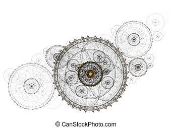 rouage horloge, ancien, mécanisme, métallique