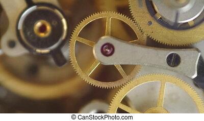 rouage horloge, métal, intérieur, roues dentées