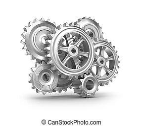 rouage horloge, mechanism., dents, engrenages