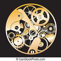rouage horloge, silhouette