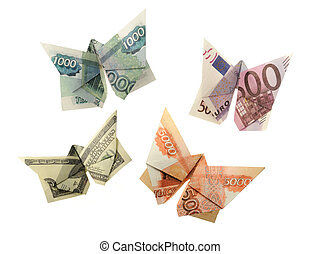 rouble, collection, papillons, dollar, euro, origami