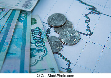 rouble, cours change, international, exchanges., stockage
