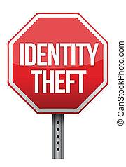 roubo identidade, sinal, ilustração