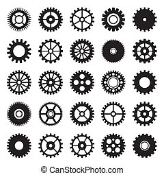 roue, 1, ensemble, engrenage, icônes