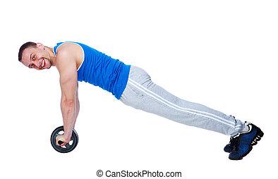 roue, abdominal, séance entraînement, exercisme, overwhite, fond, fitness, toning, homme