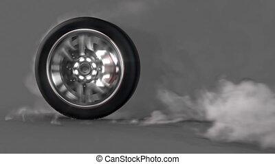 roue, alpha, burnout, boucle