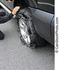 roue, après, pneu, explosion