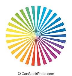 roue, arc-en-ciel, couleur, whi, raies, encre