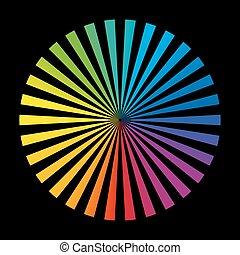 roue, arc-en-ciel, noir, champs couleur
