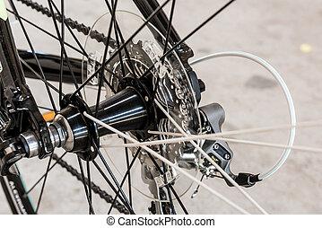 roue, arrière, vélo, engrenages, mécanisme